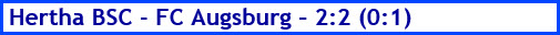 April 2018 - Spielergebnis - Hertha BSC - FC Augsburg - 2:2 (0:1)