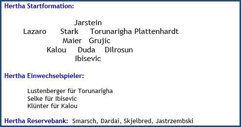 September 2018 - Mannschaftsaufstellung - VfL Wolfsburg - Hertha BSC - 2:2 (0:0)