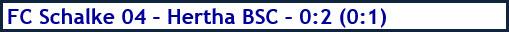 September 2018 - Spielergebnis - FC Schalke 04 - Hertha BSC - 0:2 (0:1)