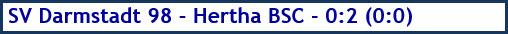 Oktober 2018 - Spielergebnis - SV Darmstadt 98 - Hertha BSC - 0:2 (0:0)
