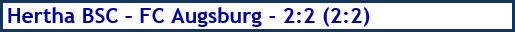 Hertha BSC - FC Augsburg - 2:2 (2:2) - Spielergebnis - Dezember 2018