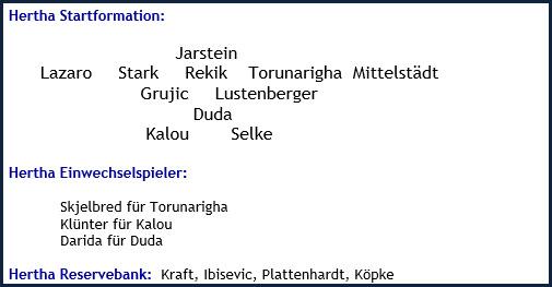 Hertha BSC - SV Werder Bremen - 1:1 (1:0) - Mannschaftsaufstellung - Februar 2019