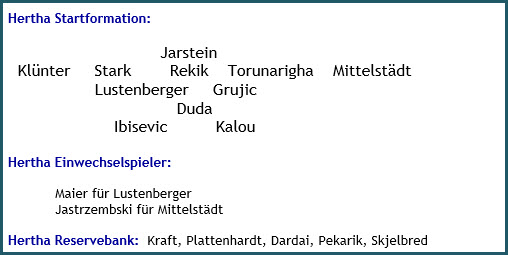 SC Freiburg - Hertha BSC - 2:1 (1:0) - Mannschaftsaufstellung - März 2019