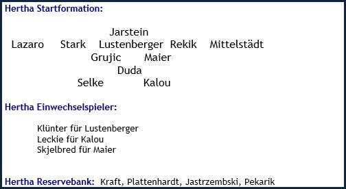 RB Leipzig - Hertha BSC - 5:0 (3:0) - Mannschaftsaufstellung - März 2019
