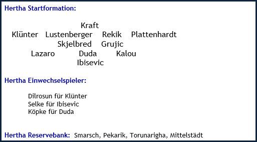 FC Augsburg - Hertha BSC - 3:4 (1:0) - Mannschaftsaufstellung - Mai 2019