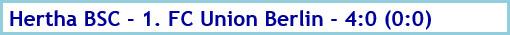 Hertha BSC - 1. FC Union Berlin - 4:0 (0:0) - Spielergebnis - Mai 2020