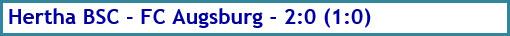 Hertha BSC - FC Augsburg - 2:0 (1:0) - Spielergebnis - Mai 2020