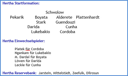 FC Augsburg - Hertha BSC - 0:3 (0:1) - Mannschaftsaufstellung - November 2020