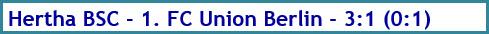 Hertha BSC - 1. FC Union Berlin - 3:1 (0:1) - Spielergebnis - Dezember - 2020