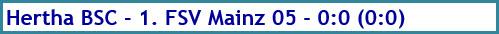 Hertha BSC - 1. FSV Mainz 05 - 0:0 (0:0) - Spielergebnis - Dezember - 2020