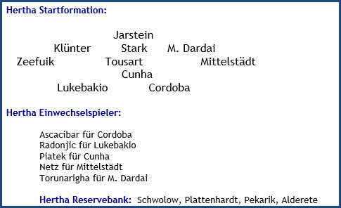 Hertha BSC – Bayer 04 Leverkusen - 3:0 (3:0) - Mannschaftsaufstellung - März - 2021