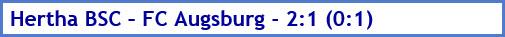Hertha BSC – FC Augsburg - 2:1 (0:1) - Spielergebnis - März - 2021