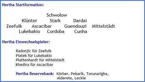 Hertha BSC – Borussia Mönchengladbach - 2:2 (1:2) - Mannschaftsaufstellung - April - 2021